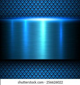 Background blue metal texture, vector illustration.