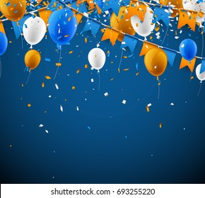 Background with blue and orange flags, balloons and confetti. Vector illustration.