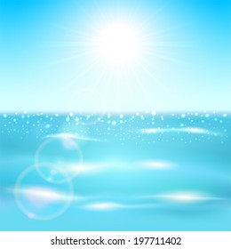 Background with blue sparkle ocean and shining Sun, illustration.