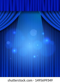 Background with blue theatre curtain. Vector illustration