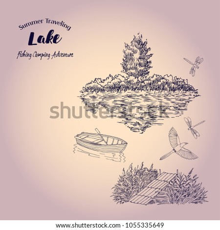 Background Boat Tree Lake Summer Vacation Stock Vector Royalty Free