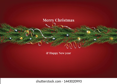 Background with Border of Realistic Looking Christmas Tree Branches Decorated with Berries