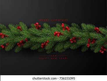 Background with Border of Realistic Looking Christmas Tree Branches and Season Wishes.