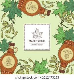 Background with a bottle of maple syrup and maple leaves. Vector hand drawn illustration.