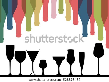 Background Bottle Vector Alcoholic Bar Menu Design Party Card Stock ...