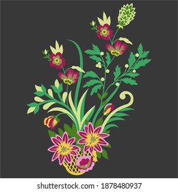 Background with bouquet of flower .Vector coreldraw drawing and sketch flower.