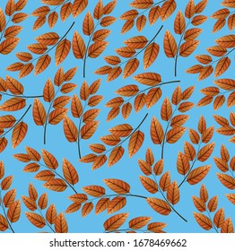 background of branches and leafs naturals vector illustration design