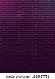 Background with a brick wall. Background in dark purple tones. Suitable for neon signs or lettering. Cyrillic night background.