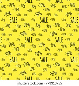 "Background for business discounts. Pattern with percentages and text ""sale"". Isolated black texts on yellow background. Eps 10"