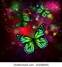 Background with butterflies glow. Vector