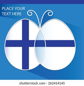 Background with butterfly decorated as flag of  Finland