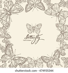 Background with butterfly. hand drawn