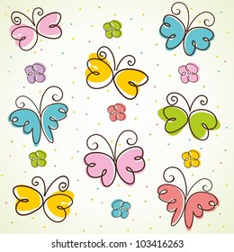 Background with butterfly. Vector illustration.