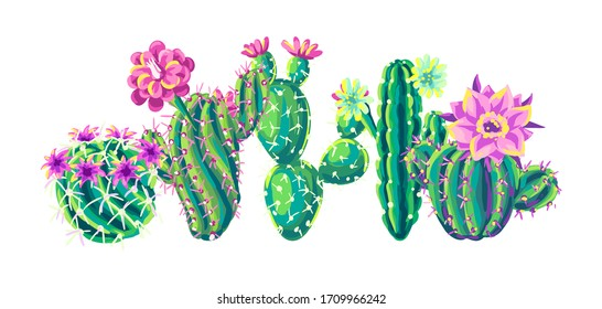 Background with cacti and flowers. Decorative spiky flowering cactuses in hand drawn style.