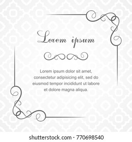 Background with calligraphic decorative elements.