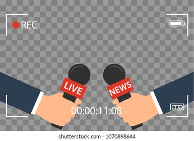 background with camera frame and record or rec vector isolated. focus TV in live news flat design. hand holding mic cartoon.