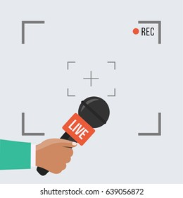 background with camera frame & record or rec vector isolated. focus TV in live news flat design. hand holding mic cartoon. Journalism & Microphone with journalist modern for sport in press conference