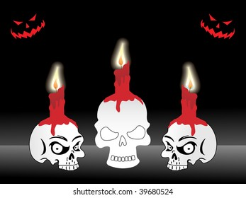background with candle on set of skull