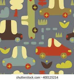 Background with cars in retro style. Cartoon cars on seamless vector pattern