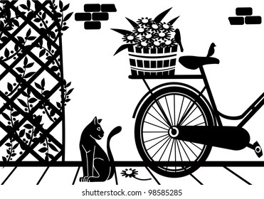 background with a cat in the garden