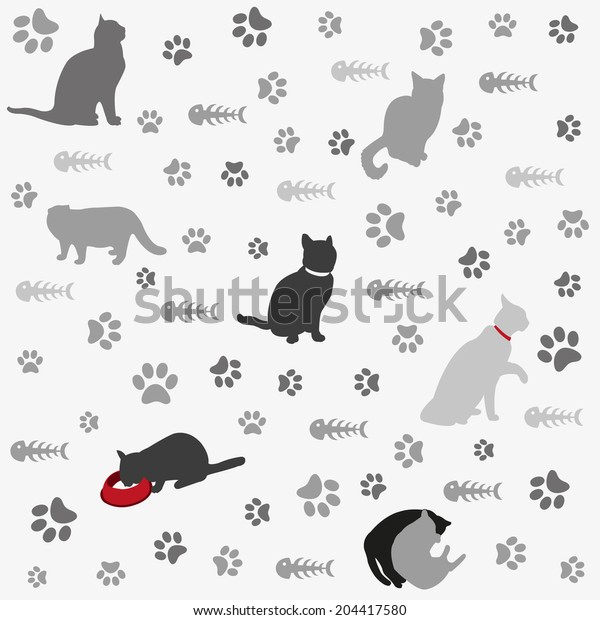 Background with cats paw print and fish bone