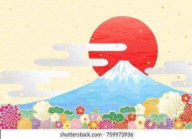 Background to celebrate New Year of Japan's beautiful mountain Mt. Fuji