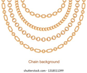 Background with chains golden metallic necklace. On white. Vector illustration