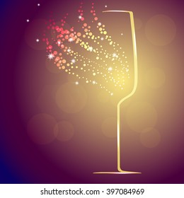 Background with champagne glass and splashes, vector illustration