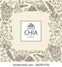 Background with chia: cocktail with chia and blueberries, plant and seeds. Superfood. Vector hand drawn illustration