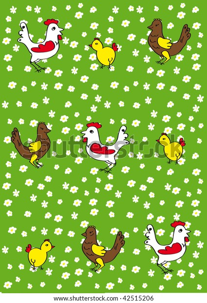 background of the chickens, roosters