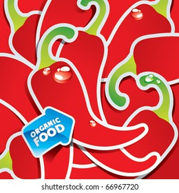 Background from chili peppers with the arrow by organic food. Vector illustration.