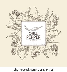 Background with chilli pepper: a piece of hot pepper, seeds and whole chilli pepper. Vector hand drawn illustration.