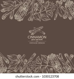 Background with cinnamon and cinnamon plant. Vector hand drawn illustration.