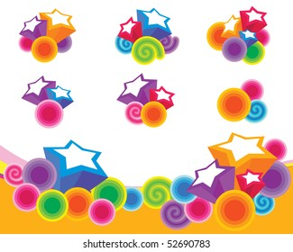 background with circles and stars elements