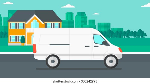 Background of the city with delivery truck.