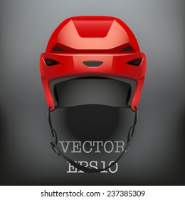 d96faf81 Background of Classic red Ice Hockey Helmet. Sports Vector illustration  isolated on white background.