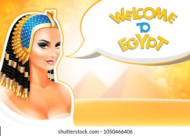 Background with Cleopatra Egyptian Queen.