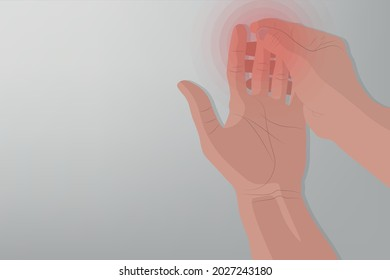Background of Close up Hand pain with a red circle, Grey background. Healthcare and Medical concept