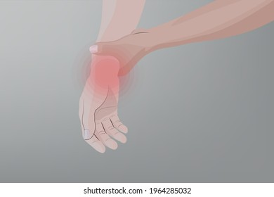 Background of Close up Man suffering from pain, weakness and tingling in wrist, Healthcare and medical concept