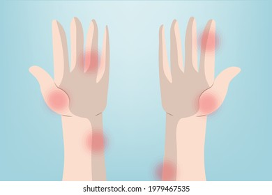 Background of Close up Wrist pain and Hand pain with a red circle, Light blue background. Healthcare and Medical concept