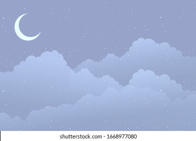 Background with clouds, new moon and stars.