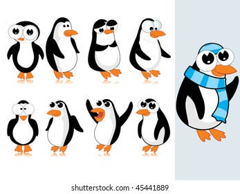 background with collection of cute penguin