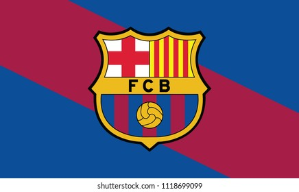 Background Color Flag fo Barcelona Emblem