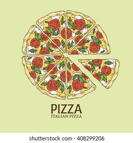 Background with color pizza. hand drawn