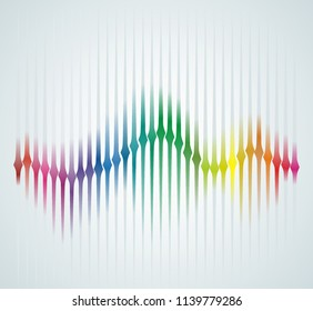 Background with color sound wave from equalizer. Vector illustration.