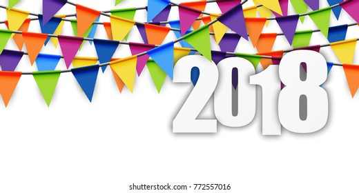 background with colored garlands for New Year party 2018