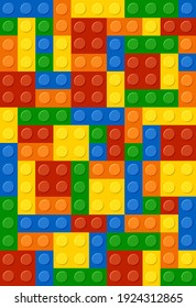 Background From Colored Lego. Vector Illustration