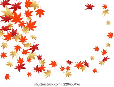 Background of colored maple leaves dancing in wind
