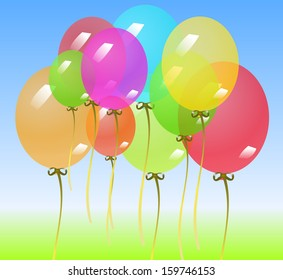 Background with colorful balloons. Vector