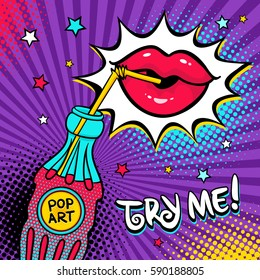 Background with colorful bottle of soda water with a straw and pop art label, female lips drinking it, stars and Try me text. Vector illustration in comic retro pop art style.